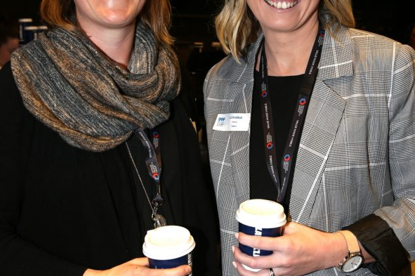 Geelong Young Professionals breakfast at Presidents Room, Geelong Football Club.Topic ,Future of Working in Geelong. Susie Pyne and Liz Braddock of Opteon.  Picture: Mike Dugdale