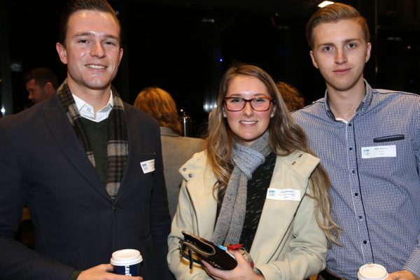 Geelong Young Professionals breakfast at Presidents Room, Geelong Football Club.Topic ,Future of Working in Geelong. Cr Trent Sullivan of COGG, Olivia Nicholls of Yellow Brick Road Geelong and Nick Johnston. Picture: Mike Dugdale