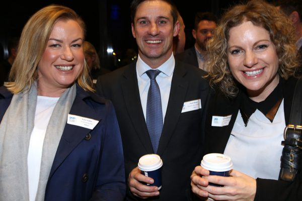 Geelong Young Professionals breakfast at Presidents Room, Geelong Football Club.Topic ,Future of Working in Geelong. Kate Swifte of Krock and Bay 939, Paul Whyte of Maxwell Collins Real Estate and Rachel Patterson. Picture: Mike Dugdale