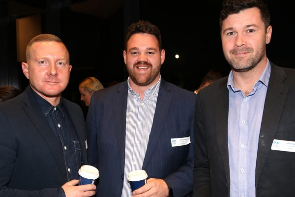 Geelong Young Professionals breakfast at Presidents Room, Geelong Football Club.Topic ,Future of Working in Geelong. Steve Tillinger of WMK Archictecture, Simon Loader of Tract and John Grigg of Sinclair Brook. Picture: Mike Dugdale
