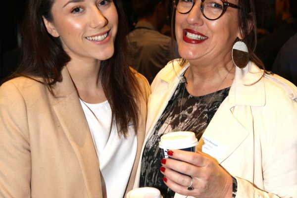Geelong Young Professionals breakfast at Presidents Room, Geelong Football Club.Topic ,Future of Working in Geelong. Sabrina Krzywdzinski and Roxie Bennett of Plan It Roxie. Picture: Mike Dugdale