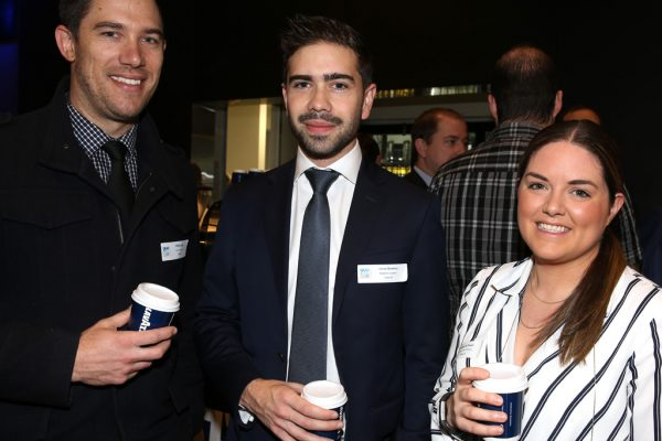 Geelong Young Professionals breakfast at Presidents Room, Geelong Football Club.Topic ,Future of Working in Geelong. Philip Lang of Crowe Horwath, Jesse Rankine of Whigtons Lawyers and Lydia DeRaap of Whyte Just and Moore. Picture: Mike Dugdale