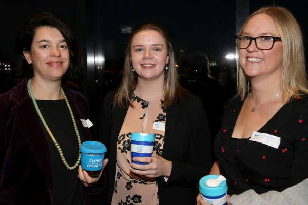Geelong Young Prefessionals Clever and Creative Future Geelong breakfast at Presidents Room, GMHBA Stadium. Connie Trathen, Tamara Wright and Jessica Davis. Picture: Mike Dugdale