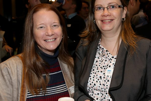 Geelong Young Professionals breakfast at Presidents Room, Geelong Football Club.Topic ,Future of Working in Geelong. Mandy Flynn and Kelly Shearer of Lenehan and Associates. Picture: Mike Dugdale