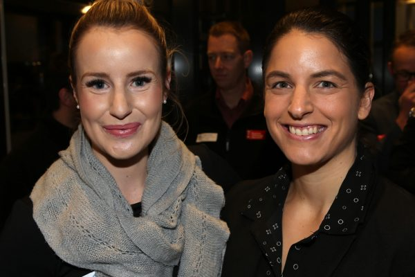 Geelong Young Professionals breakfast at Presidents Room, Geelong Football Club.Topic ,Future of Working in Geelong. Toni Sleep and Lisa Dragicevic of McGrath Estate Agents Geelong. Picture: Mike Dugdale