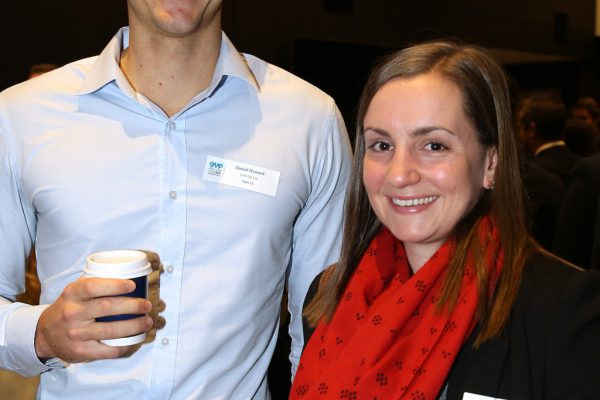 Geelong Young Professionals breakfast at Presidents Room, Geelong Football Club.Topic ,Future of Working in Geelong. Daniel Howard of GHT Pty Ltd and Caitlin O'Sullivan of Cochlear. Picture: Mike Dugdale
