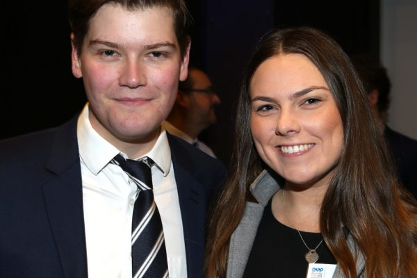 Geelong Young Professionals breakfast at Presidents Room, Geelong Football Club.Topic ,Future of Working in Geelong. Riley Dye of Telstra and Brigitte Ward of Target. Picture: Mike Dugdale