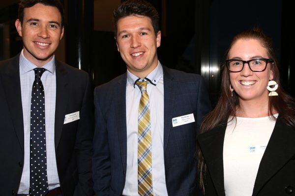 Geelong Young Professionals breakfast at Presidents Room, Geelong Football Club.Topic ,Future of Working in Geelong. Shaun Carroll of Maxwell Collins Real Estate, Ben McLean of Wightons Lawyers and Georgie Martin of Fuse Advisory. Picture: Mike Dugdale