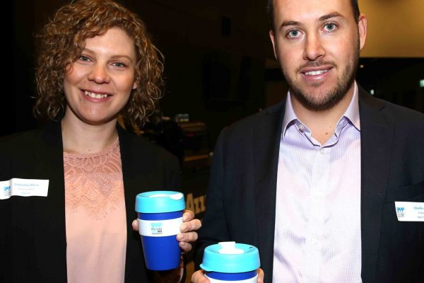 Geelong Young Prefessionals Clever and Creative Future Geelong breakfast at Presidents Room, GMHBA Stadium. Samantha Alford and Charlie Agar. Picture: Mike Dugdale