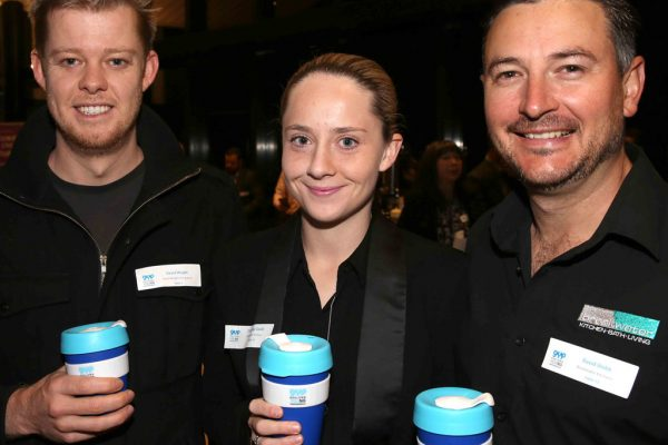 Geelong Young Prefessionals Clever and Creative Future Geelong breakfast at Presidents Room, GMHBA Stadium. David Wright, Courtney Gould and David Webb. Picture: Mike Dugdale