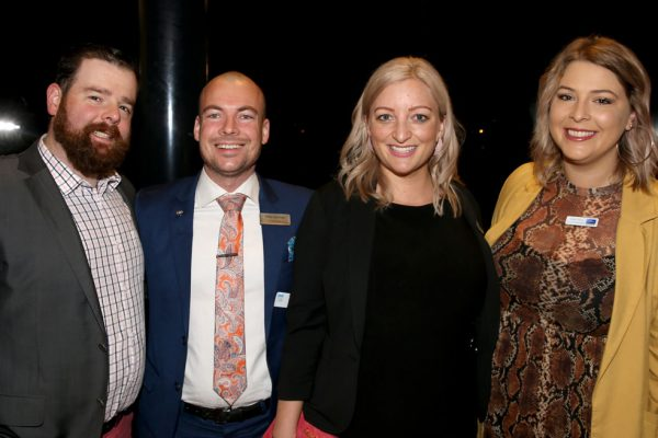 Geelong Young Prefessionals Clever and Creative Future Geelong breakfast at Presidents Room, GMHBA Stadium. Rob Cox, PeterNorman, Miranda Williams and Steph Davie. Picture: Mike Dugdale