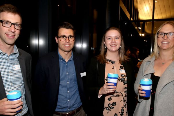 Geelong Young Prefessionals Clever and Creative Future Geelong breakfast at Presidents Room, GMHBA Stadium. Liam Drady (**Correct spell**) Jack McNamara, Tamara Wright and Jessica Davis. Picture: Mike Dugdale