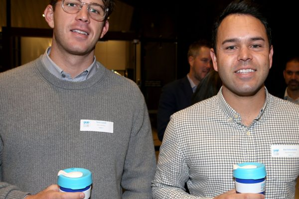Geelong Young Prefessionals Clever and Creative Future Geelong breakfast at Presidents Room, GMHBA Stadium. Tavis Lavell, (**correct spell)** and Alex Kutschukian. Picture: Mike Dugdale