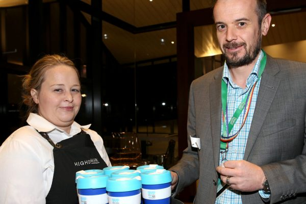 Geelong Young Prefessionals Clever and Creative Future Geelong breakfast at Presidents Room, GMHBA Stadium. Adelle Ford and Gavin Walker. Picture: Mike Dugdale