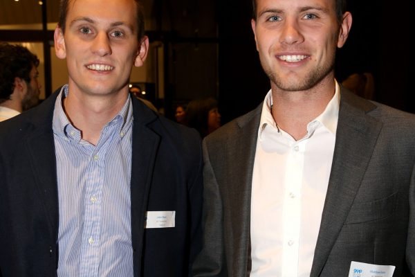 Geelong Young Prefessionals Clever and Creative Future Geelong breakfast at Presidents Room, GMHBA Stadium. Jake Ross and Matthew Gunn.  Picture: Mike Dugdale