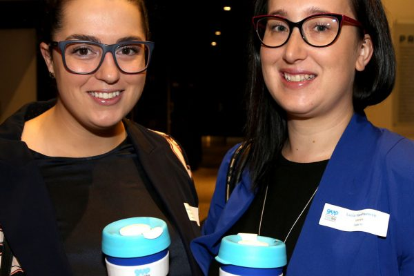 Geelong Young Prefessionals Clever and Creative Future Geelong breakfast at Presidents Room, GMHBA Stadium. Dina Dasic and Lucia Van Parreren. Picture: Mike Dugdale