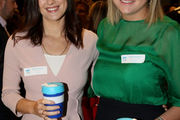 Geelong Young Prefessionals Clever and Creative Future Geelong breakfast at Presidents Room, GMHBA Stadium. Nikketa Anderson and Annabel Debenham. Picture: Mike Dugdale