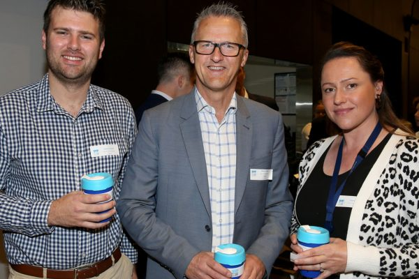 Geelong Young Prefessionals Clever and Creative Future Geelong breakfast at Presidents Room, GMHBA Stadium. Joshua Trowell, Martin Cutter and Laura Potter. Picture: Mike Dugdale