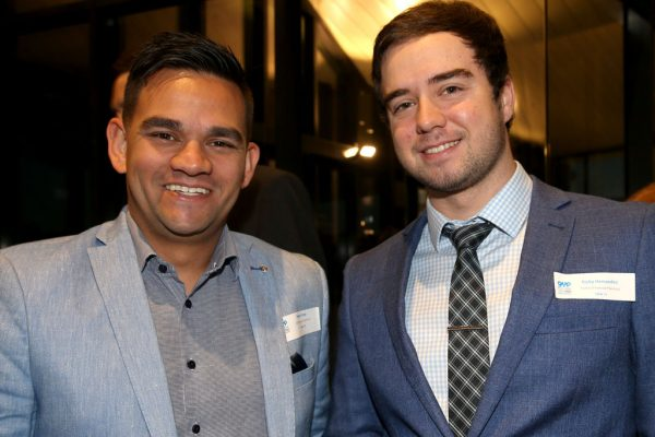 Geelong Young Prefessionals Clever and Creative Future Geelong breakfast at Presidents Room, GMHBA Stadium. Peter Grey and Ricky Hernandez.  Picture: Mike Dugdale