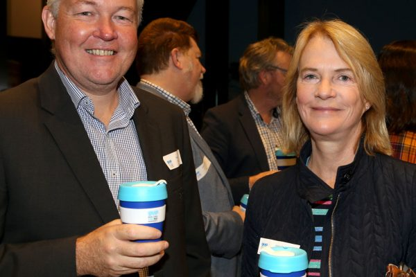 Geelong Young Prefessionals Clever and Creative Future Geelong breakfast at Presidents Room, GMHBA Stadium. Cam Quinten and Jen Conley. Picture: Mike Dugdale