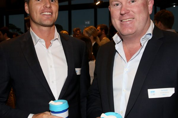 Geelong Young Prefessionals Clever and Creative Future Geelong breakfast at Presidents Room, GMHBA Stadium. Sam Parsons and Jim Cross. Picture: Mike Dugdale