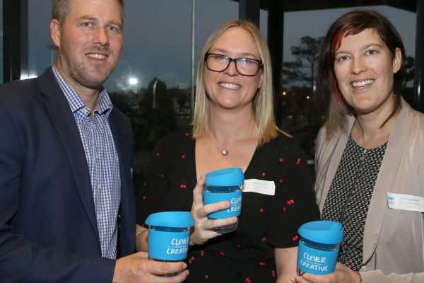 Geelong Young Prefessionals Clever and Creative Future Geelong breakfast at Presidents Room, GMHBA Stadium. Cameron Murnane, Jessica Davis and Dr Simone Boer. Picture: Mike Dugdale