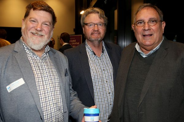 Geelong Young Prefessionals Clever and Creative Future Geelong breakfast at Presidents Room, GMHBA Stadium. Robert Menaul, David Cairns and Jon Momonski. Picture: Mike Dugdale