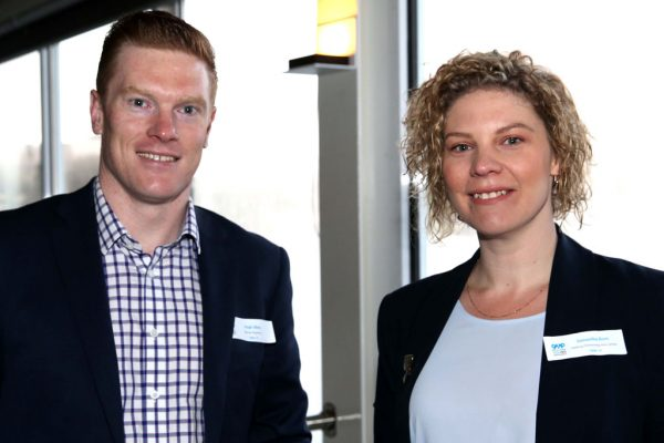GYP Networking Breakfast with Jem Fuller. Hugh Allen and Samantha Born. Picture: Mike Dugdale