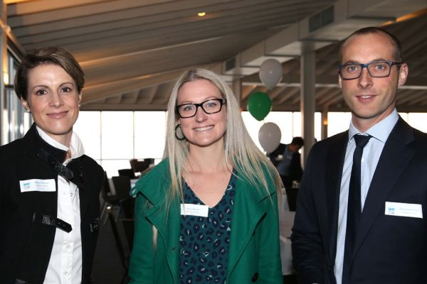 GYP Networking Breakfast with Jem Fuller. Marika Thomson, Rose Roberts and Christopher Wood. Picture: Mike Dugdale