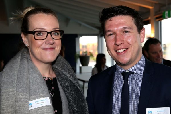 GYP Networking Breakfast with Jem Fuller. Briony Robertson and Ben McLean. Picture: Mike Dugdale